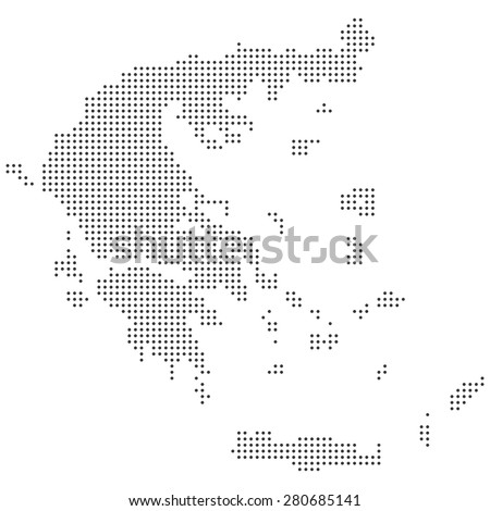 Detailed black and white dotted Greece map illustration vector - stock vector