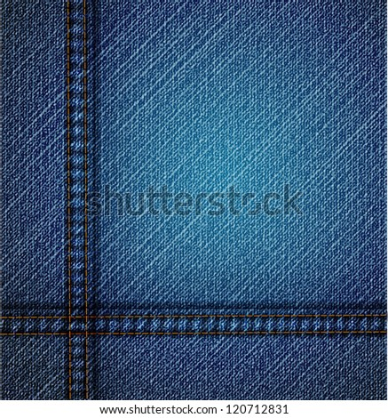 Detailed blue jeans texture. Vector art - stock vector