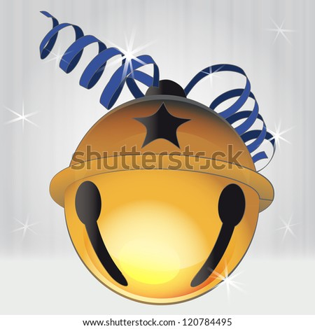 detailed bronze jingle bell with red ribbon vector illustration - stock vector