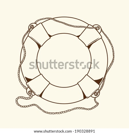 Detailed brown outlines nautical life buoy isolated on beige background. Ship element. Vector Illustration. - stock vector