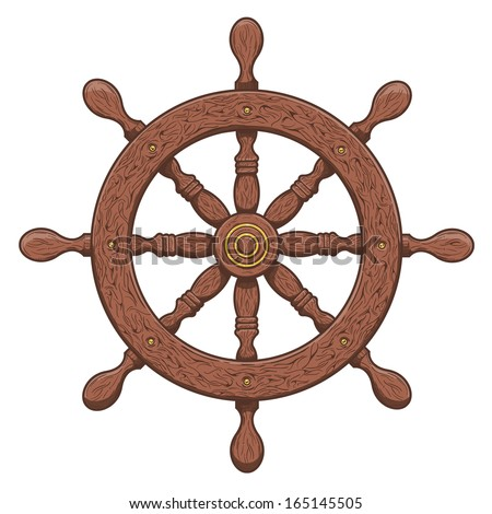 Detailed brown outlines nautical rudder isolated on white background. Ship element. Vector illustration. - stock vector