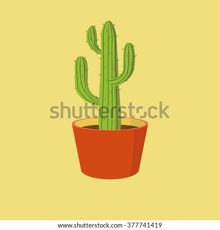 Detailed cactus in orange clay pot isolated on yellow background, vector illustration - stock vector