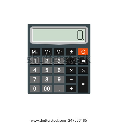 Detailed calculator isolated on white background for e-business, web sites, mobile applications, banners, corporate brochures, book covers, layouts etc. Vector eps10 illustration - stock vector