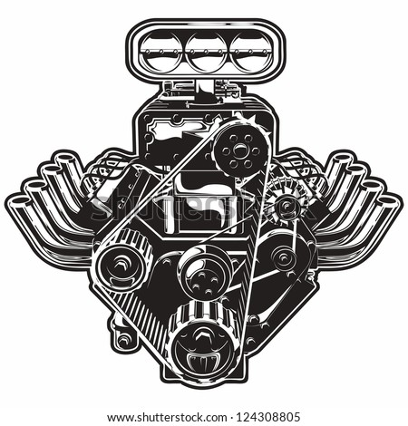 Detailed Cartoon Turbo Engine. Available eps-8 format separated by groups and layers for easy edit - stock vector