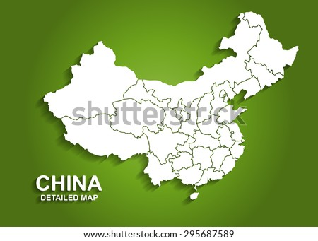 Detailed China Map on Green Background with Shadows (EPS10 Vector)