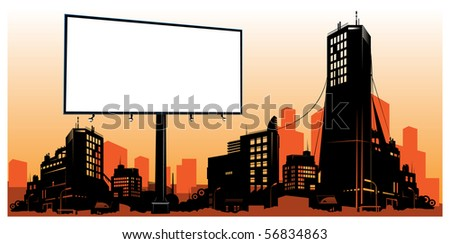 detailed city skyline with billboard - stock vector