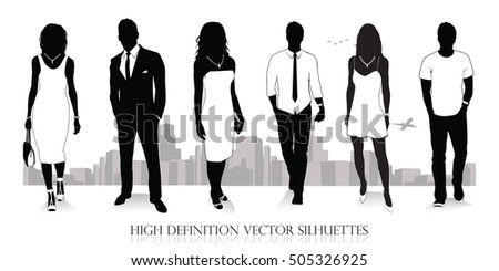 Detailed collection of people silhouettes