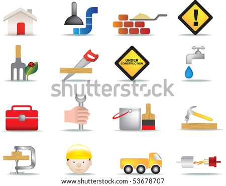 detailed colour icon set of construction and diy icons - stock vector