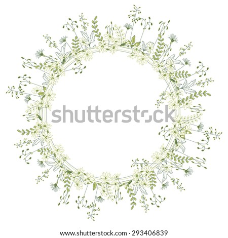Detailed contour modest wreath  with forest herbs and wild flowers, isolated on white.