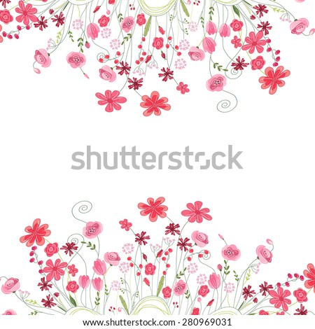 Detailed contour square frame with herbs, roses and wild flowers isolated on white. Greeting card for your design, greeting cards, wedding announcements, posters.  - stock vector