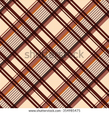 Detailed Diagonal seamless vector pattern as a tartan plaid mainly in beige and brown colors - stock vector