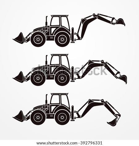 Detailed digging excavators in dark solid color. Typical four wheeled excavators in silhouette style. Excavator working - step-by-step digging process. Digging excavator stock vector image. - stock vector