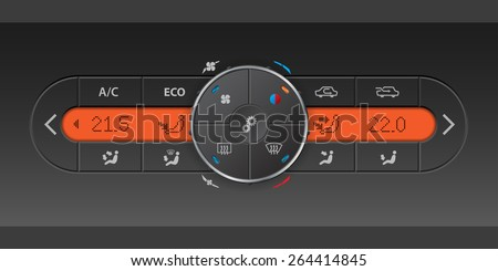Detailed digital air condition control panel design with orange LCD - stock vector