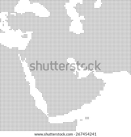 Detailed dotted map of Middle East and Arabian peninsula vector - stock vector