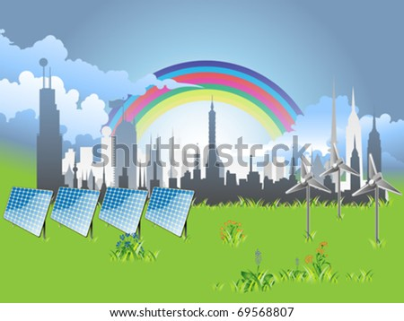 detailed ecology city eps8 - stock vector