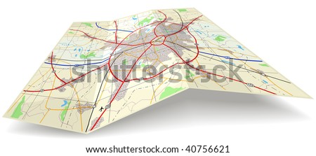 Detailed editable vector folding map with no names
