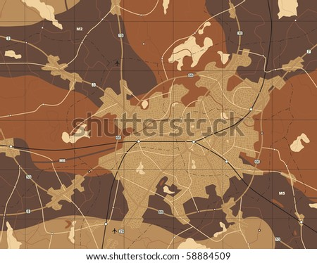 Detailed editable vector generic map with no names - stock vector