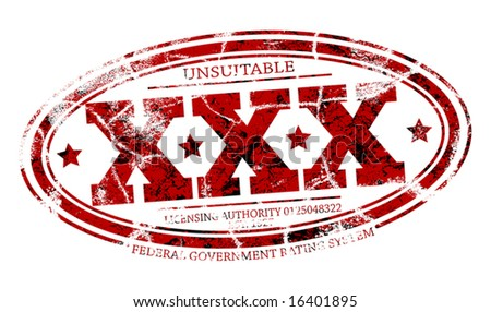 Detailed editable vector rubber stamp of three Xs with three grunge layers as separate objects - stock vector