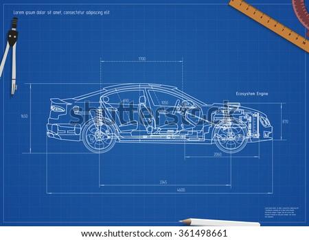 Detailed Engineering Blueprint Car Vector Illustration Stock Vector ...