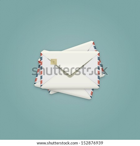 Detailed Envelope Illustration,  vintage air mail envelope icon, vector, eps 10 - stock vector