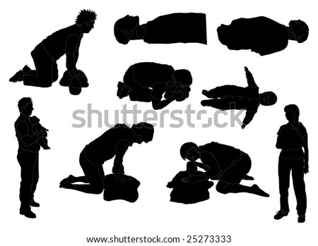 "Detailed ""First Aid"" / emergency care silhouettes - stock vector"