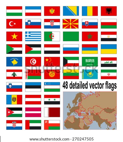 Detailed flags of 48 European, Asian and African countries - vector stock Albania, Algeria, Armenia, Austria, Belarus, Bosnia and Herzegovina, Bulgaria, China,  Croatia, Egypt, Estonia, Greece etc. - stock vector
