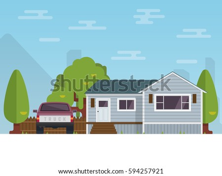 Detailed flat design of American rural house. Vector Illustration