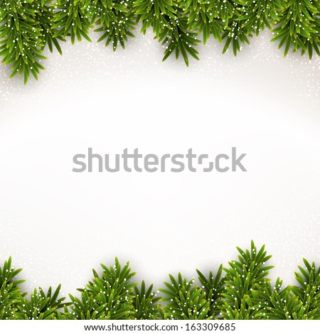 Detailed frame with fir. Christmas background. Vector illustration.  - stock vector
