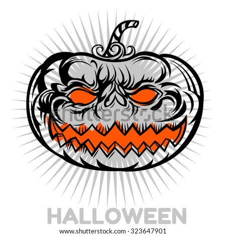 Detailed funny halloween pumpkin faces celebrates Halloween. Jack O Lantern icon set. Halloween pumpkins on background. Useful also as greetings card and design, t-shirt. - stock vector