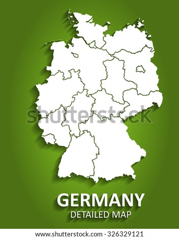 Detailed Germany Map on Green Background with Shadows - stock vector