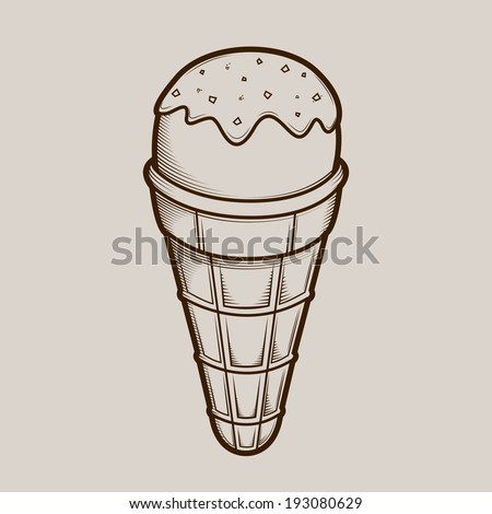 Detailed graphic ice cream isolated on light background. Brown outlines. Vector illustration. - stock vector