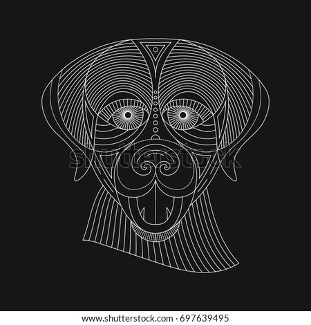 Detailed graphic illustration of a dog in modern geometric style.