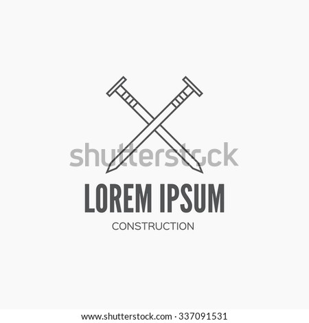 Detailed graphic with carpenter element - nails - made in vintage style. Vector design for logotype, label, badge, t-shirt or for other type of graphic. Woodwork vector illustration. - stock vector