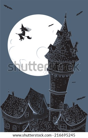 Detailed, Halloween background with a grim city.  - stock vector