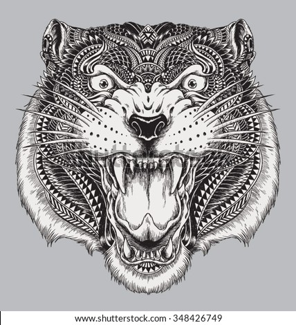 Detailed Hand Drawn Abstract Tiger - stock vector