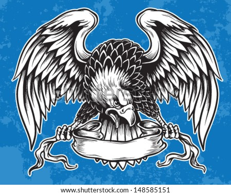Detailed Hand Drawn Eagle Holding Scroll Vector - stock vector