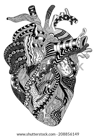 detailed hand-drawn psychedelic illustration of human heart - stock vector