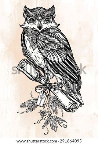 Detailed hand drawn vintage Owl with a letter manuscript. Vector illustration isolated. Magic Victorian nature art. Tattoo outline. Retro banner,card, scrap booking. t-shirt, bag, postcard, poster.