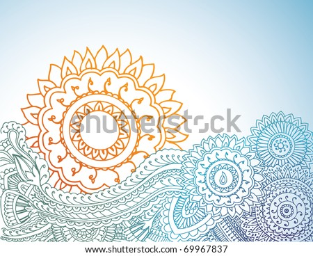 Detailed henna abstract sunrise. - stock vector