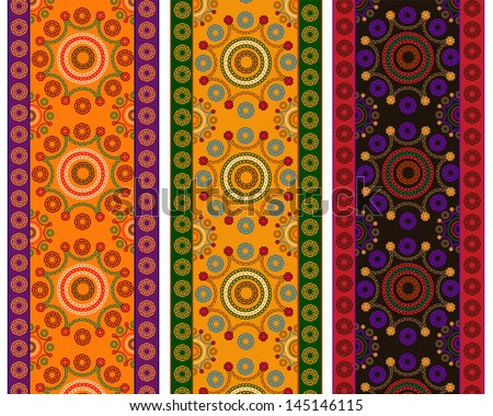 Detailed Henna Banner/ Border, Henna inspired Colorful Border - very elaborate and easily editable - stock vector