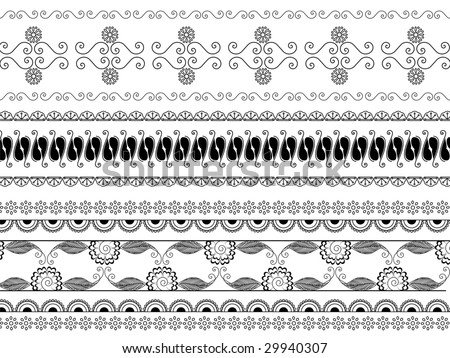 Detailed henna borders - stock vector