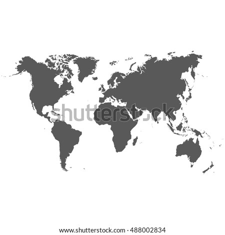 detailed high resolution accurate vector map of the world printed in grey ink on