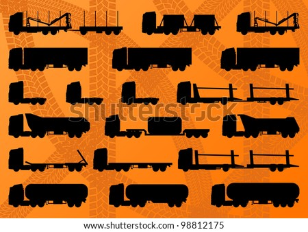 Detailed highway truck, trailer and oil cisterns editable silhouettes illustration collection background vector - stock vector