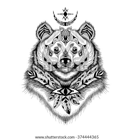 Detailed Himalayan Bear in aztec style