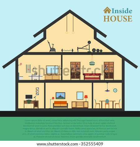 Detailed house in cut. Different modern furniture in interiors. Flat style vector illustration EPS10 - stock vector