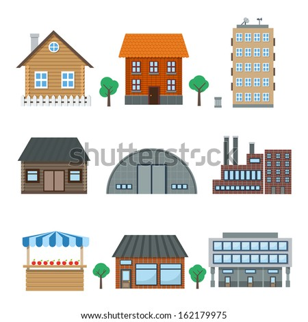 Detailed houses and building icons set isolated on white vector illustration - stock vector
