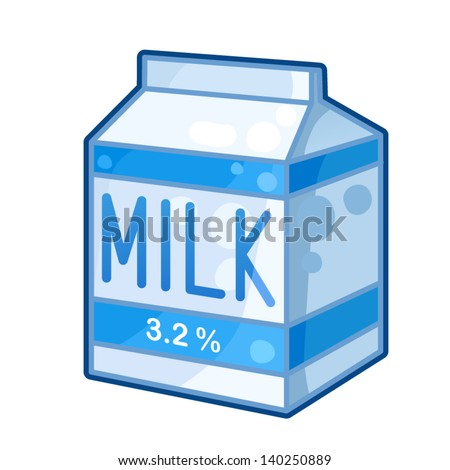 Detailed Icon. Carton of milk isolated on white background - stock vector