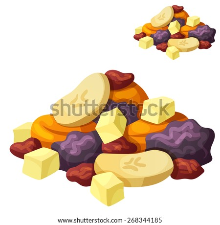Detailed Icon. Dried fruits isolated on white background. Series of food and drink and ingredients for cooking. - stock vector