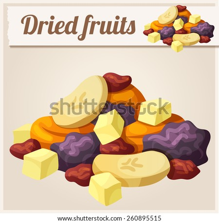 Detailed Icon. Dried fruits. Series of food and drink and ingredients for cooking.  - stock vector