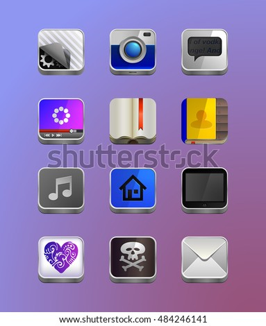 Detailed icons for smart-phone, for the tablet or any other device